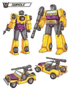 """Easy-going and good natured, but within him beats the fuel pump of the most greed-driven street hustler. Thrives on wheeling and dealing, works for his own personal material advancement. A one-robot """"black market"""". Uses a scatter blaster that sprays explosive pellets, gyro gun that disrupts Transformers' balance center. Combines with fellow Combaticons to form """"Bruticus"""". Prone to overturning on sharp turns. - See this image on Photobucket."""