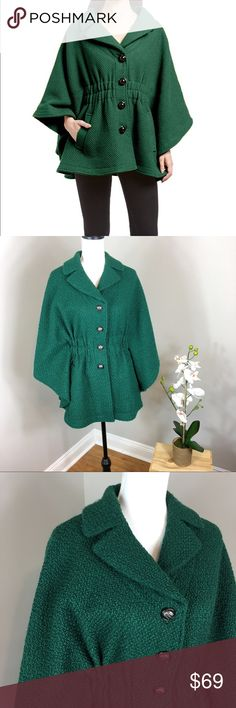 Steve Madden Emerald Green Wool Cape Coat Steve Madden emerald green wool cape coat. Size medium and it is 28' long. Pre-owned condition with wear. The fabric was slightly piled but I corrected it with a sweater shaver. I'm so in love with this coat. It's very classy! ❌I do not Trade  Or model Posh Transactions ONLY Steve Madden Jackets & Coats Capes