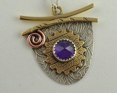 Amethyst Pendant - Mixed Metal Jewelry - Metalsmith Necklace - Art Jewelry