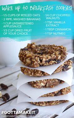 """COOKIES FOR BREAKFAST Mix the wet stuff (banana, applesauce, vanilla) and the spices together. Blend with everything else. Drop 1"""" round spoonfuls on a parchment-lined cookie tray and flatten. Bake..."""