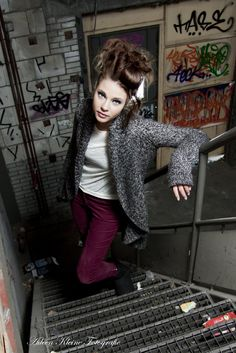 a picture of a fashion shoot in an old empty factory