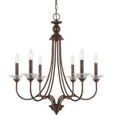 Sea Gull Lighting, Lemont 6-Light Burnt Sienna Single Tier Chandelier, 31318-710 at The Home Depot - Mobile