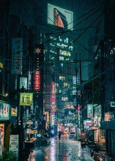 Cyberpunk Seoul Art Print by steveroe_ - X-Small Ville Cyberpunk, Art Cyberpunk, Cyberpunk Aesthetic, Cyberpunk Tattoo, Cyberpunk 2020, Cyberpunk Fashion, Night Aesthetic, City Aesthetic, Building Aesthetic
