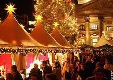 German Christkindl Market. Outdoor Christmas markets. A special hot spiced wine is served. It's an event!