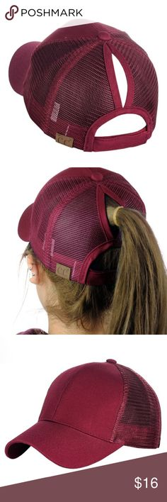 Burgundy Messy High Bun Baseball pony- Cap CC Pony Cap CC ponytail hat with  mesh back. Adjustable velcro back with CC logo on back. 4ccd834f5c70