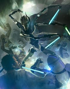 Grievous fights several clone troopers and Jedi by Bruno Werneck #starwars