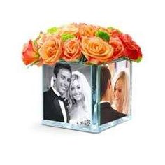 Never seen this before! could do this with kids pics for b-days Photo Centerpieces, Centerpiece Ideas, Photo Cubes, Baby Dedication, Grandma Birthday, Glass Photo, 40th Anniversary, Grad Parties, Bar Mitzvah