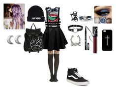 """stay evil dollface"" by destoneyp ❤ liked on Polyvore featuring Kat Von D, NARS Cosmetics, Vans, Casetify and ChloBo"