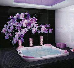 Purple Bathroom Purple Bathrooms, Dream Bathrooms, Beautiful Bathrooms, Dream Rooms, Luxury Bathrooms, Master Bathrooms, Dream Bedroom, Modern Bathroom Design, Bathroom Interior Design