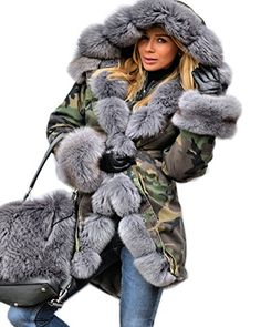 2dd086918f Aofur Womens Ladies Hooded Warm Coats Parkas Anroaks Faux Fur Lined Long  Military Jacket (Medium