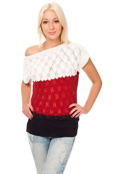 #Pullover #kurzarm Zapfen Design mit Streifen