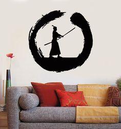 Vinyl Wall Decal Japanese Samurai Warrior Circle Enso Zen Asian Stickers Unique Gift (ig3032)