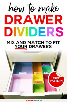 DIY Drawer Dividers: How to Organize Your Messy Drawers! - Jennifer Maker - DIY Drawer Dividers – How to Organize Drawers – Cut on a Cricut to fit Ikea Alex drawers - Alex Drawer Organization, Project Life Organization, Diy Drawer Dividers, Diy Drawer Organizer, Drawer Organisers, Diy Organization, Drawer Ideas, Organizing Tips, Organising