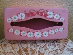 Vintage Pink Metal Tissue Holder Dispenser by jonscreations  #craftshout0212