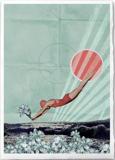 Wasserfrühling, Fine Art Collage Illustration Print, handmade watercolor paper, 8x12, Spring. €18,00, via Etsy.