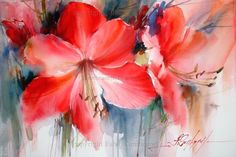 Love this artist's watercolors - this Amaryllis painting is fantastic! Gallery - fabiocembranelli