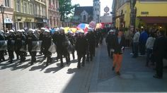 March for Tolerance in Krakow's Old Town. Tolerance includes tolerance for police, right?
