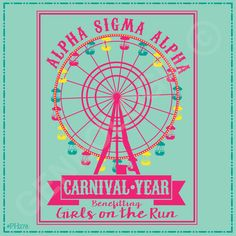 Geneologie | Greek Tee Shirts | Greek Tanks | Custom Apparel Design | Custom Greek Apparel | Sorority Tee Shirts | Sorority Tanks | Sorority Shirt Designs | Sorority Shirt Ideas | Greek Life | Hand Drawn | Sorority | Sisterhood | Philanthropy | Girls on the Run | Alpha Sigma Tau | Carnival | Ferris Wheel | Neon | Benefit | PH278