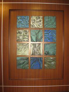 Tree of Life, handmade, sgraffito-carved, ceramic wall tiles by Natalie Blake STudios