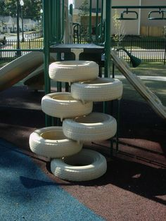 If we go with a tire tower, could be a pole with either tires to either side or from big to little.