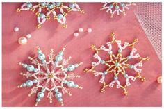 Handmade Beaded Snowflakes — ScaraBeads US Diy Christmas Snowflakes, Snowflake Craft, Snowflake Decorations, Christmas Ornaments To Make, Snowflake Pattern, Snowflake Ornaments, Beaded Ornaments, Ornament Crafts, Handmade Christmas
