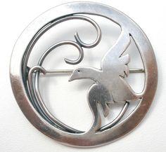 Sterling Silver Dove Brooch Vintage Bird Hallmarked Pin