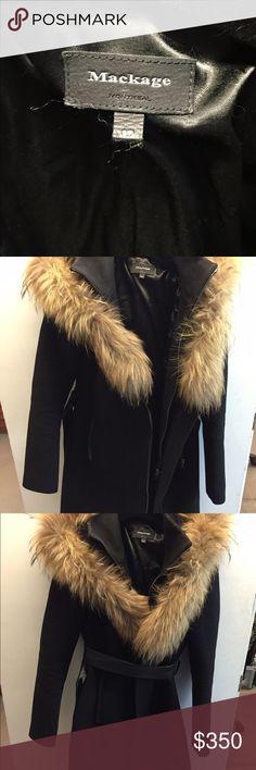 Beautiful Mackage Winter Coat Warm winter coat! Worn twice. Dbl zipper.. And beautiful fur trim on hood. Coat is almost knee length. Coat comes with leather belt. Mackage Jackets & Coats Pea Coats