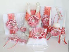 """Свадебные свечи """"Коралловые цветы"""" - коралловый, свадебные аксессуары, аксессуары на свадьбу, аксессуары для свадьбы"""