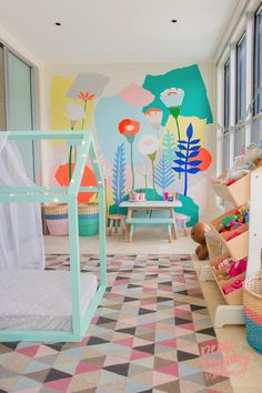 Bright & colorful kids room inspiration. I love how playful this kids bedroom is + all the details.