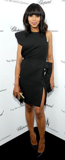 erry Washington: The Weinstein Company Academy Award Party hosted by Chopard    The fashion-forward Django Unchained actress rocked an assymetrical black cocktail dress at the Feb. 23 pre-Oscar bash in West Hollywood.