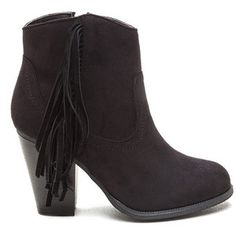 Ride A Cowgirl Chunky Fringe Booties BLACK
