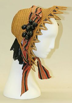 Bonnet Date: ca. 1858 Culture: American Medium: straw Dimensions: [no dimensions available] Credit Line: Gift of Edgar J. Lorie, Inc., in me...