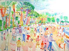 Promenade des Anglais, Nice Watercolour 56 x 76 cms