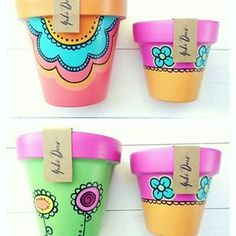 Resultado de imagen para yuki deco Flower Pot Art, Flower Pot Crafts, Clay Pot Crafts, Painted Plant Pots, Painted Flower Pots, Pots D'argile, Clay Pots, Pottery Painting, Diy Painting