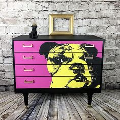 Upcycled Chest Of Drawers Painted Furniture Painted Chest of Drawers G Plan Upcycled Cabinet Vintage Chest of Drawers Pop Art Upcycled Furniture chest drawers Upcycled Art Furniture, Furniture Layout, Repurposed Furniture, Furniture Makeover, Painted Furniture, Furniture Design, Dresser Furniture, Furniture Making, Vaisseliers Vintage