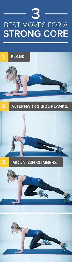 Here are three ab-blasting exercises you can do anywhere. These moves will ease back pain and improve your posture, too.