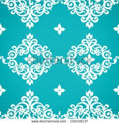 Vector seamless pattern with swirls and floral motifs in retro style. Victorian background of bright modern color. Damasks, Modern Colors, Floral Motif, Retro Style, Swirls, Retro Fashion, Pattern Design, Stencils, Projects To Try