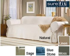 @Overstock - Utilize this Sure Fit 100 percent cotton slip cover to revamp the look of the worn out sofa in your den. With a variety of colors to choose from, this machine washable slip cover will make your piece of furniture an elegant standout.http://www.overstock.com/Home-Garden/Sure-Fit-Classic-Duck-Washable-Sofa-Slipcover/1468650/product.html?CID=214117 $54.99