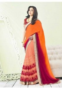 Latest designer wedding wear Indian georgette saree in Multicolor G16321