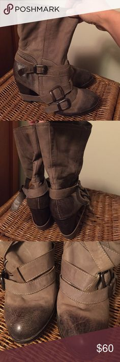 """Super sexy Steve Madden Boots sz 8 These sz 8 leather boots are so sexy! Distressed dark brown on toes hombre into a deep taupe color that teeters on grey. The straps bring a little toughness & the one strap hangs teasingly  low on the heel. Debating on selling cuz they're so great but they're not getting the love they should. 3 1/2"""" heel so not overly stressful to wear. Gently used condition. They need to be out on the town ladies, not whimpering for attention in my lame closet. 😂 Steve…"""