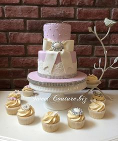 Pretty Two-Tiered Lilac Cake with Lace & Pearls