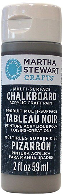 Martha Stewart Crafts Multi-Surface Chalkboard Acrylic Craft Paint in Assorted Colors (2-Ounce), 33492 Gray