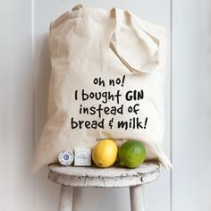 "A handy cotton tote bag with a fun ""Oh no, I bought gin instead of bread & milk!"" message on the front, perfect for carrying your gin and tonic bottles around to friends or taking to the supermarket when you go shopping."