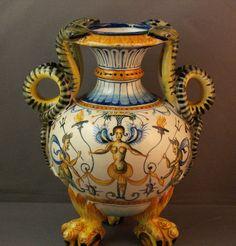 Antique Italian Cantagalli Maiolica Pottery Vase  - Snake Handles - Mermaids | Керамика и стекло, Художественная керамика, Майолика | eBay!