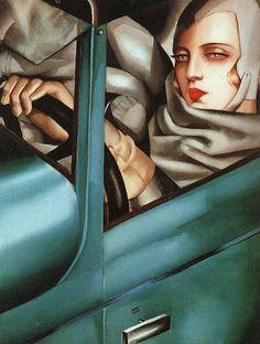 Art Deco Artes Visuais    Embora o termo Art Deco raramente seja aplicado a pintura ou escultura, o estilo é visível nas formas simplificadas de certos pintores do século 20 a partir do período entre-guerras.   Tais artistas incluem, a pintora Tamara de Lempicka (nascida Tamara Gorska) (1898-1980)   imagem: Auto-Retrato em uma Bugatti verde (1925) Tamara de Lempicka