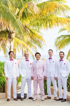 Elizabeth Medina Photography Banyan Tree Mayakoba Wedding Pink and White groom and groomsmen
