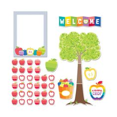 Make a vivid impression with this striking 39-piece back-to-school bulletin board set. Contains 1 easy-to-assemble tree (22.5 x 38.5 inches), 32 student apples, 2 accent apples, 1 welcome sign, 1 moti