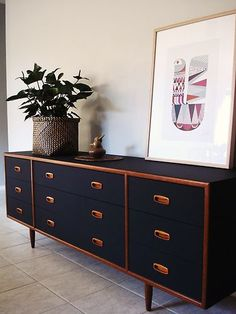 Danish Schreiber sideboard painted black