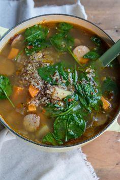 Sweet Potato, Spinach, Sausage and Quinoa Soup Recipe