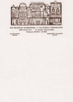 """The letterhead of Ray Bradbury.c.1998.  NB: Commenter Sandro has kindly pointed out that the building featured is actually Sir John Soane's Museum in London.  (This house cross-section reminds me of R.B.'s lovely, haunting short story """"Jack-in-the-Box"""" from *The October Country*)"""